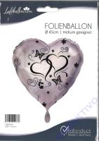 Folienballon Silber - Herzen