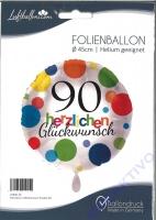 Folienballon Herzlichen Glückwunsch Punkte 90