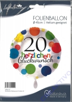 Folienballon Herzlichen Glückwunsch Punkte 20
