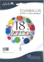 Folienballon Herzlichen Glückwunsch Punkte 18