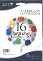 Folienballon Herzlichen Glückwunsch Punkte 16