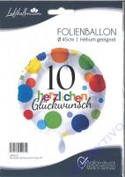 Folienballon Herzlichen Glückwunsch Punkte 10