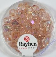 Glas-Schliffperlen, 6 mm ø irisierend rosenquarz