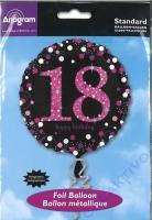 Folienballon 18 Happy Birthday schwarz / pink