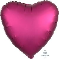 Folienherz uni satin luxe - pink