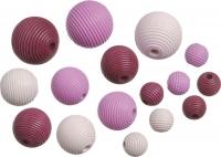 Holzperlen-Mix  Rillenperlen rosa pink 20 Stück