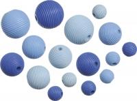 Holzperlen-Mix  Rillenperlen blau 20 Stück