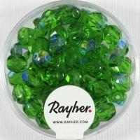Glas-Schliffperlen, 6 mm ø irisierend smaragd