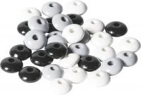 Holzlinsenmix 10mm schwarz weiß 33 Stück