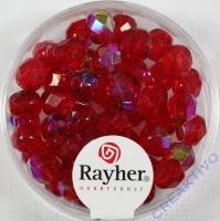 Glas-Schliffperlen, 6 mm ø irisierend rubin