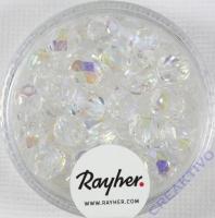 Glas-Schliffperlen, 6 mm ø irisierend bergkristall
