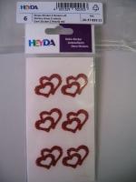 Heyda 6 Strass-Sticker 2 Herzen rot