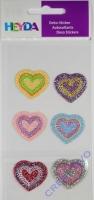 Heyda 6 Textilsticker Herzen sortiert