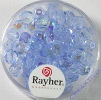 Glas-Schliffperlen, 6 mm ø irisierend aquamarin