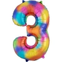 Folien-Ballon 3 regenbogen 86cm