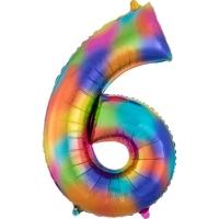 Folien-Ballon 6 regenbogen 86cm