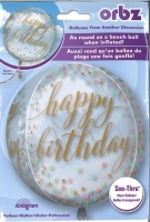 orbz transparenter Ballon 38cm x 40cm Happy Birthday