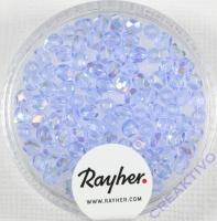 Glas-Schliffperlen, 3 mm ø irisierend aquamarin