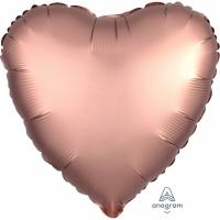 Folienherz uni satin luxe - Rose Copper