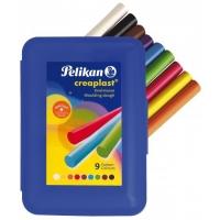 Wachsknete Creaplast® 198, blaue Box mit 14 Stangen in 9 Farben