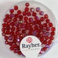 Glas-Schliffperlen, 3 mm ø irisierend rubin