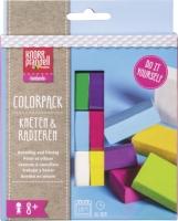 Colorpack Kneten & Radieren weiß, zitrone, pink, violett, hellblau, hellgrün