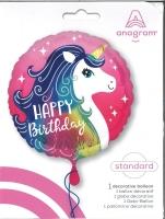 Folienballon Happy Birthday - Einhorn