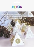 Adventskalender-Bastel-Set 8 x 8 x 9 cm goldfarben/weiß