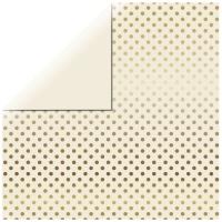 Scrapbookingpapier Gold Foil Dots - elfenbein