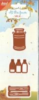 Stanze Milchkanne Milchflaschn und Kiste