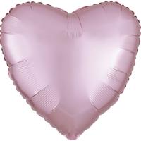 Folienherz uni satin luxe - pastel pink
