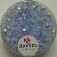 Glas-Schliffperlen, Olive 6x4 mm irisierend aquamarin