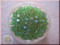 Glas-Schliffperlen, Olive 6x4 mm irisierend smaragd