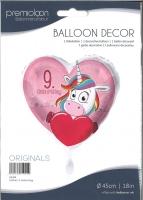 Folienballon Einhorn 9. Geburtstag