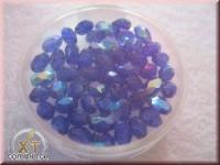 Glas-Schliffperlen, Olive 6x4 mm irisierend saphir