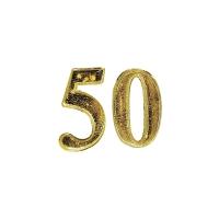 Rayher Wachs-Jubiläumszahl 50, 25 mm, gold, 1 Stück