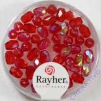 Glas-Schliffperlen, Olive 6x4 mm irisierend rubin