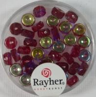Glas-Schliffperlen, Radl 6x3 mm irisierend rubin
