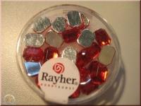 Rayher Plastik-Strassteine Octagon 6x8mm rubin (A)