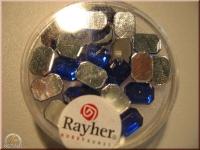 Rayher Plastik-Strassteine Octagon 6x8mm saphir (A)