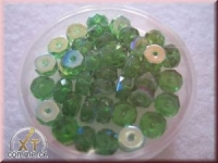 Glas-Schliffperlen, Radl 6x3 mm irisierend smaragd