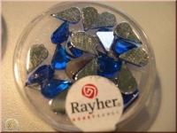 Rayher Plastik-Strassteine Tropfen 6x10mm saphir (A)