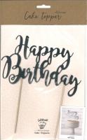 Cake Topper - Happy Birthday silber