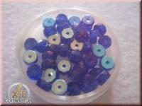 Glas-Schliffperlen, Radl 6x3 mm irisierend saphir