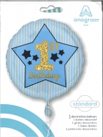 Folienballon 1st Birthday blau