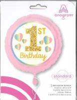 Folienballon 1st Birthday pink