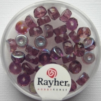 Glas-Schliffperlen, Radl 6x3 mm irisierend amethyst