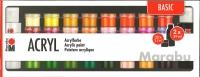 Marabu Acrylfarbe Basic - 32x 3,5ml plus 2x 59ml