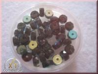 Glas-Schliffperlen, Radl 6x3 mm irisierend onyx