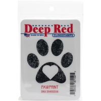 Deep Red Cling Stamp 3.2X1.5 - Pawprint